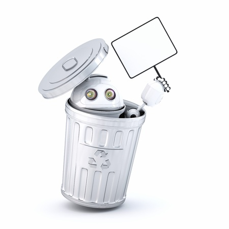 Android robot inside recycle bin  Electronic recycle concept photo