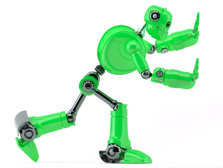 Green robot pushing an invisible object  Isolated on white background photo