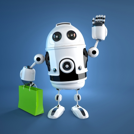 Android robot with shopping bag  Rendered on white background photo