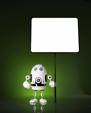 Android robot with blank board  Rendered on dark background