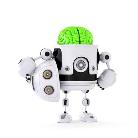 robot: Robot Android con gran concepto de inteligencia artificial del cerebro verde aislado en el fondo blanco Foto de archivo