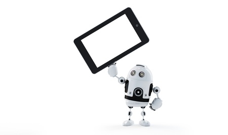 Android robot holding blank screen tablet  Advertising concept Stock Photo