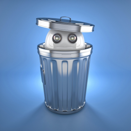 Android robot inside trash bin  Electronic recycle concept photo