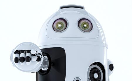 Android Roboter, die auf Sie isoliert auf weißem Hintergrund Lizenzfreie Bilder