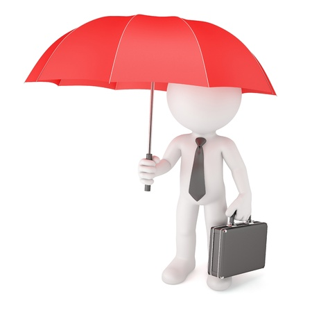 Businessman with umbrella  Safety concept  Isolated on white photo