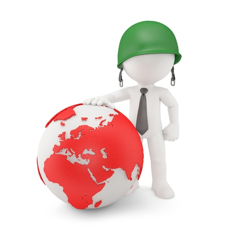 strong strategy: Businessman with World Map Globe