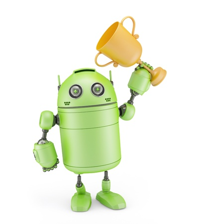 Robot with a trophy  Isolated on white background photo