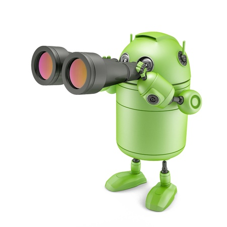 Robot looks in binocular  Isolated on white background