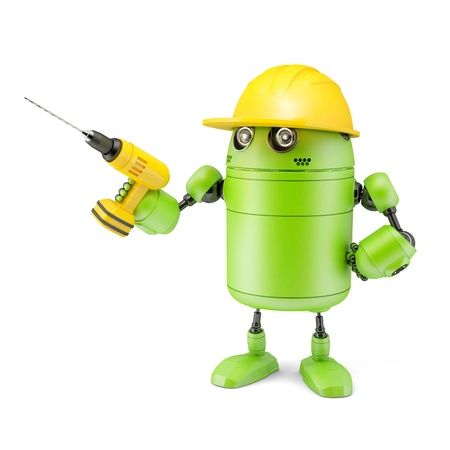Android robot with drill  Technology concept  Isolated on white background