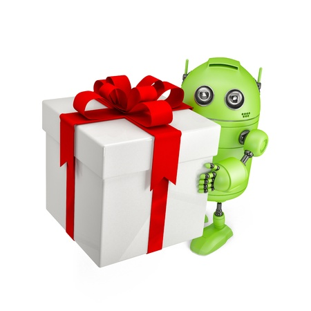 Robot carrying huge gift box  Isolated on white photo