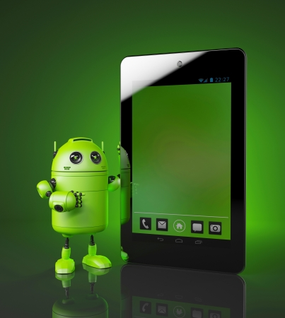 robot with tablet pc  3d illustration