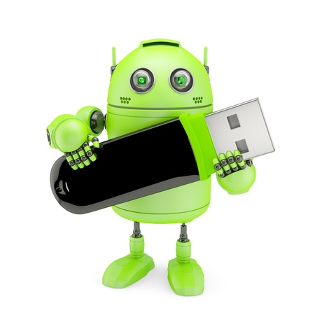 Android holding usb flash drive  Isolated on white photo