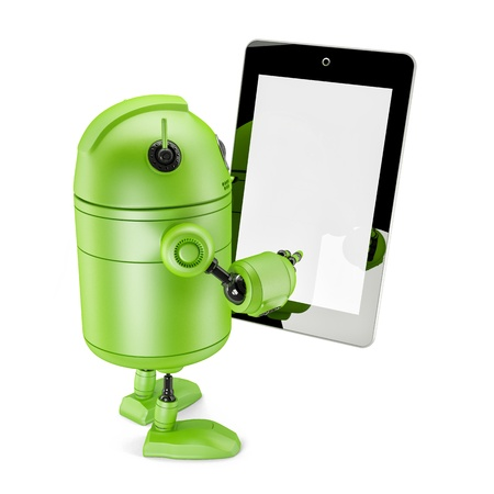 Robot Holding Touch Screen Mobile Device. Isolated on white Stock Photo