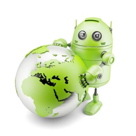 Robot tenendo tenendo pianeta Terra. Isolato su sfondo bianco