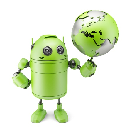 Robot inspecting a globe. Isolated on white Stock Photo - 19927930