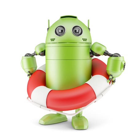 android: Robot holding life buoy. Isolated on white