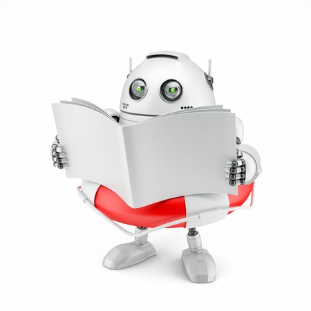 Robot reading manual. Isolated on white photo