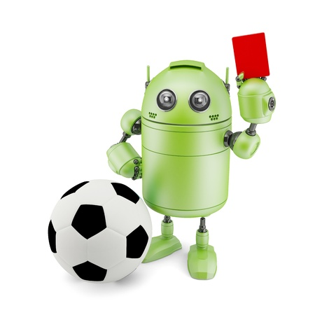 3D Robot playing soccer. Isolated on white photo