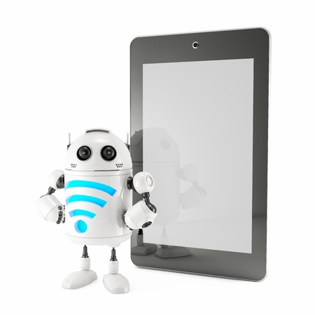 Android with WiFi symbol and blank screen tablet. Isolated on white photo