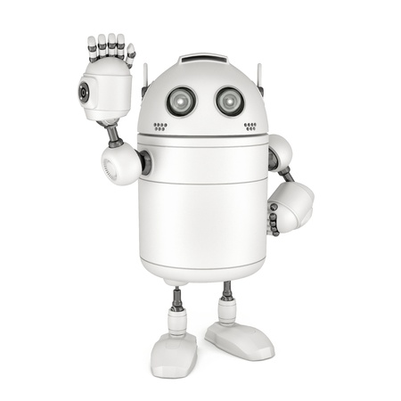 Friendly robot waving hello. Isolated on white