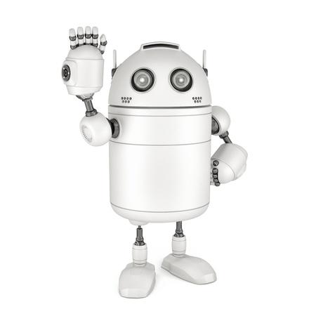 Freundlich winken hallo Roboter. Isoliert auf weißem