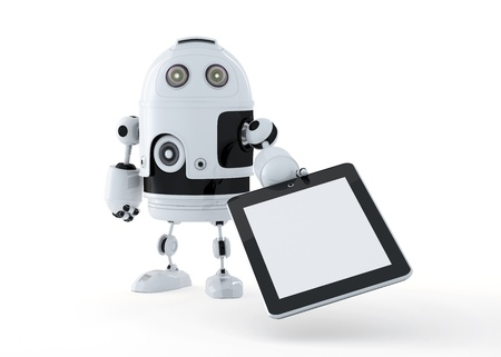 robot holding a blank digital tablet pc. Isolated on white. Stock Photo