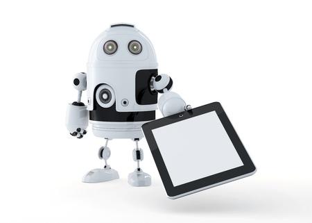 Roboter, die eine leere digitale Tablet PC. Isoliert auf weiß.