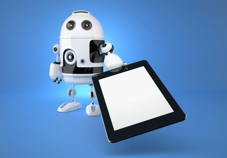 robot with touchpad on blue background. 3d illustration illustration