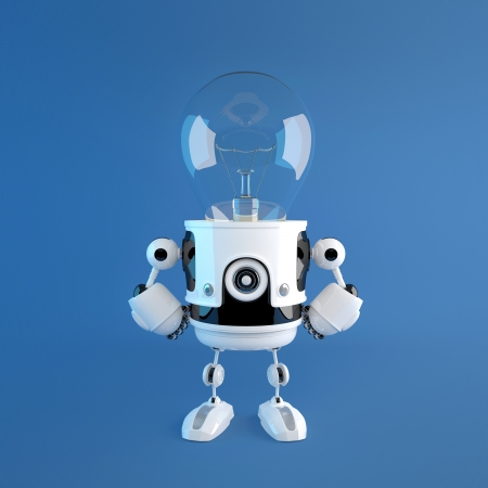 Bulb head robot. Creative idea concept photo