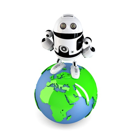Androi Robot on top of the green earth globe. Isolated on white