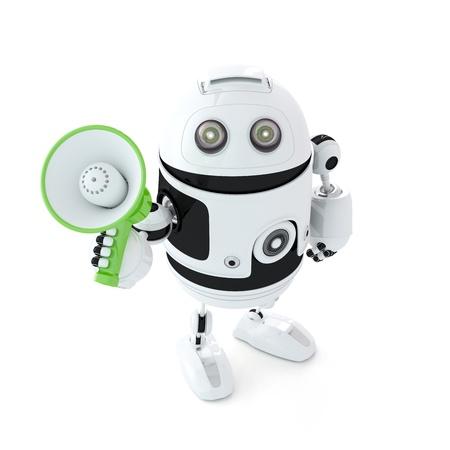 talking robot: shouting through megaphone. Isolated on white
