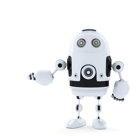 robot: Posando Robot. Dictada en blanco Foto de archivo