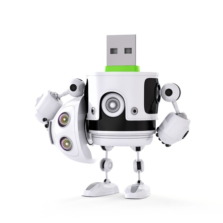 usb storage device: USB droid. Digital storage concept
