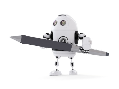 talking robot: Robot con la pluma. Aislado en blanco