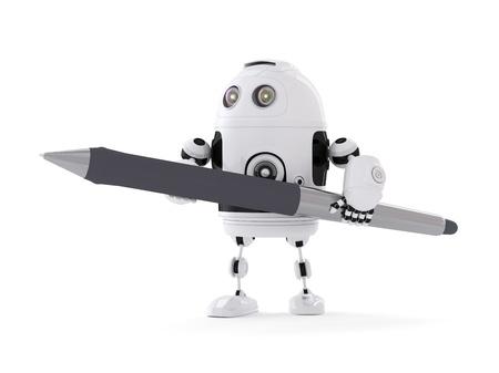 Roboter mit Kugelschreiber. Isoliert auf weißem Lizenzfreie Bilder