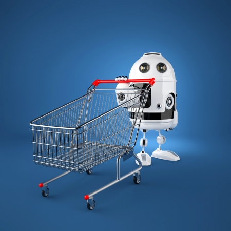 Android robot with shopping cart. Rendered over blue background photo
