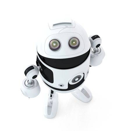 android robot: Android robot look up. Isolated on white background