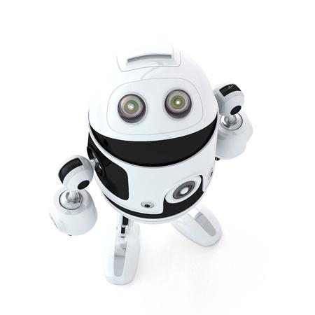 Android Roboter schauen. Isoliert auf weißem Hintergrund