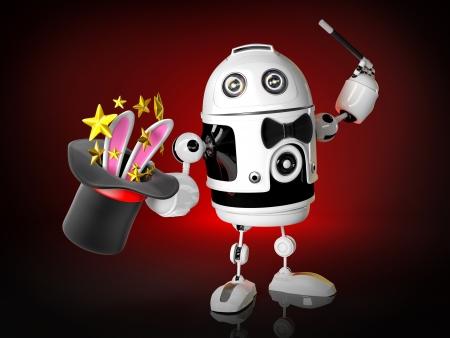 Robot magician. Technology concept photo