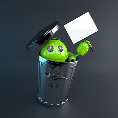 plastic waste: robot inside trash bin. Electronic recycle concept