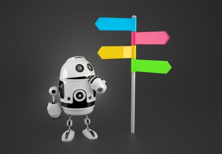 Robot looking at colorful way sign. Technology concept photo