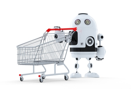 Robot with shopping cart. Isolated. Technology concept
