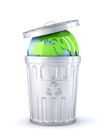 environmental damage: Earth globe in a recycle bin. Global environment concept. Isolated Stock Photo