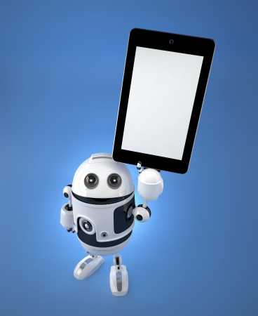 Android robot with blank screen tablet pc. 3D Illustration illustration