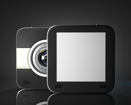 lcd display: Squared photo camera with empty space for your picture or text. 3D illustration