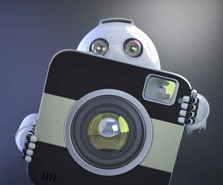 Android robot holding squared photo camera. 3D illustration illustration