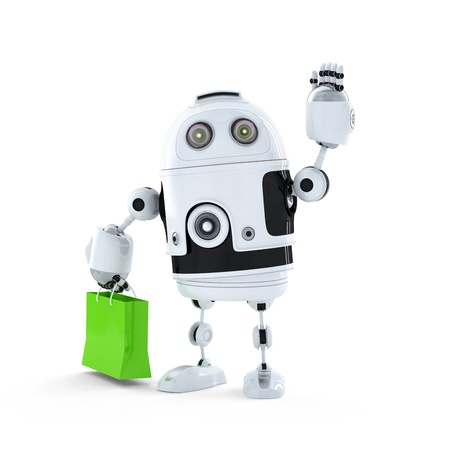 Android robot with shopping bag. Isolated on white background photo