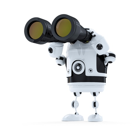 Robot looking through binoculars. Searching concept. Isolated Stock Photo