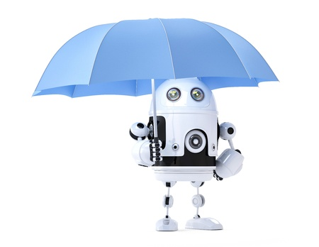 Android robot with umbrella. Security concept. Isolated photo