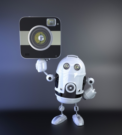 android robot: Android robot with DSLR squred amera. 3D Illustration Stock Photo